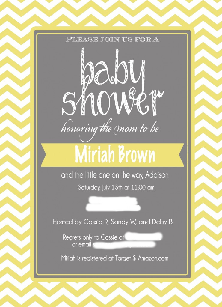 a grey, yellow  chevron baby shower, Baby shower invitations
